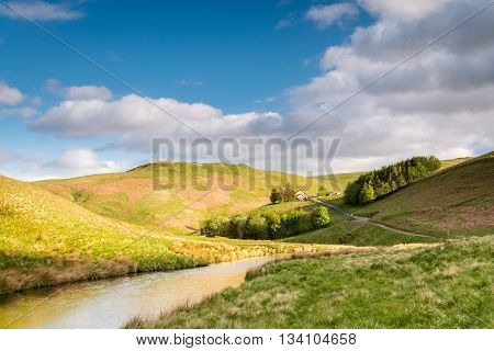 Upper Coquetdale Valley, where the River Coquet winds its way through the Cheviot Hills