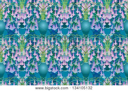 Fantasy flower pattern, with Asian influences, in teal and lavender