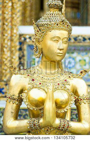 The Statues Of Krut Battling Naga Serpent, A Thai Buddhist Adaptation Of Garuda In Wat Phra Kaeo Tem