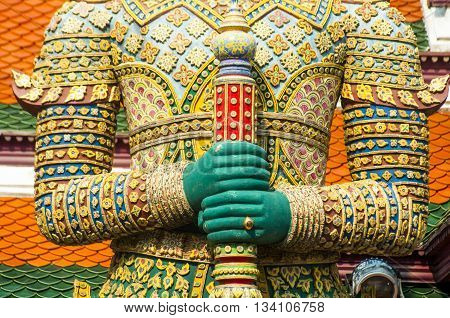Detail of Temple statue Wat Phra Kaeo Grand Palace Bangkok Thailand