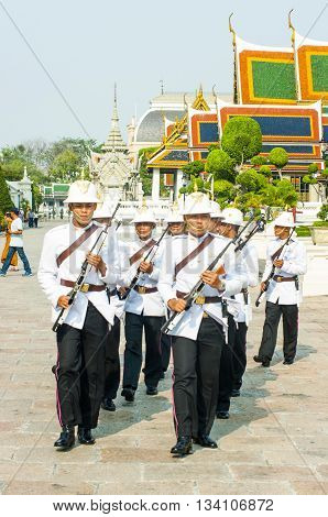 BANGKOK - MAY 9: changing ceremony of the guards of the Royal Palace takes place on 4th may 9 2009 in BangkokThailand