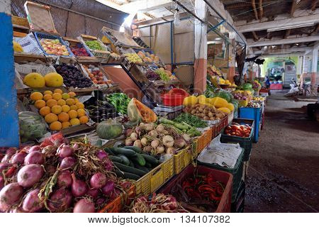 RISSANI - AUGUST 03: Fruits and Vegetables in a Market (souk) in a Rissani in Morocco. The market is one of the most important attractions of the city. August 03 2012 Rissani Morocco.