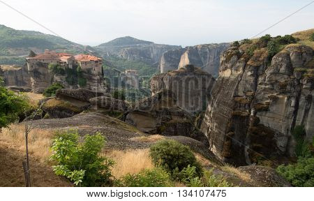 View of a cliff top monastery at Meteoras