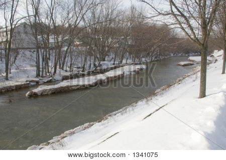 Ice Flow Buildup In River
