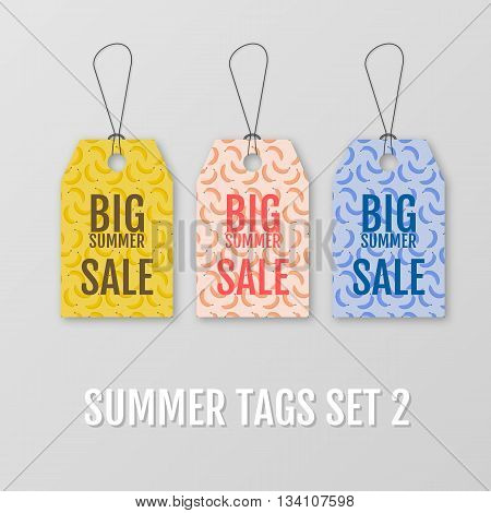 Summer tags set. Sale sticker with special advertisement offer. Labels with yellow bananas, pink bananas and blue bananas. Summer collection of Greeting Cards. Big sale tag vector isolated.