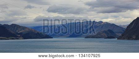 Lake in Central Otago New Zealand. Lake Hawea.