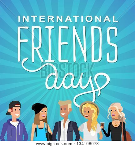 Group of happy friends with Friends day title. Cartoon hand drawn illustration for Friends day. Friends day card