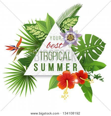 Paper triangular emblem with type design and tropical flowers and plants