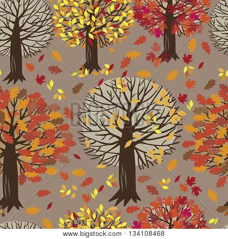 Seamless background of the maple tree, oak tree, Apple trees and falling autumn leaves