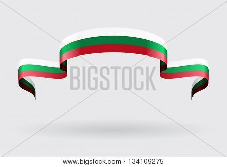 Bulgarian flag wavy abstract background. Vector illustration.