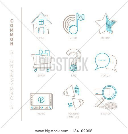 Set Of Vector Common Website Icons And Concepts In Mono Thin Line Style