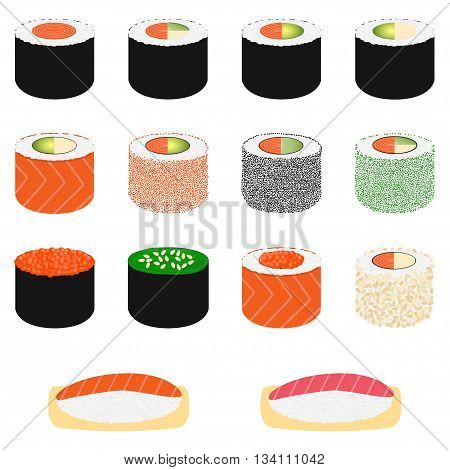 Set of sushi on white background, vector illustration