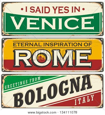 Retro tin sign collection with cities in Italy. Vintage vector souvenir sign or postcard templates. Travel theme.