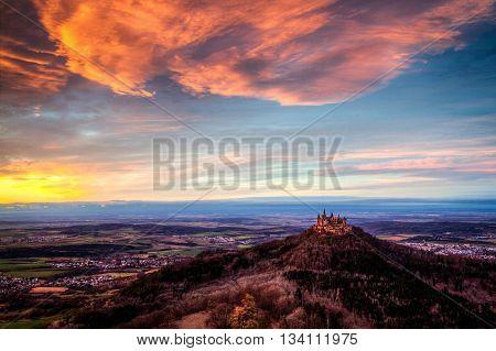Hohenzollern Castle from Zeller Horn at sunset