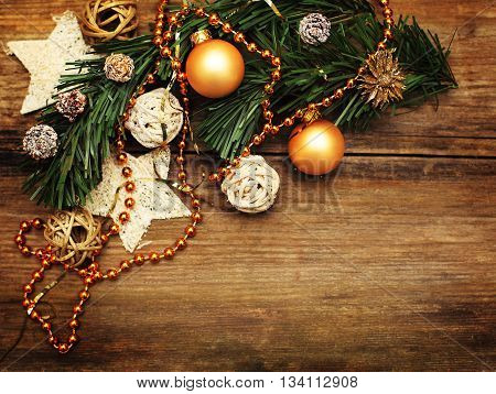 Christmas background with golden decoration star and xmas tree
