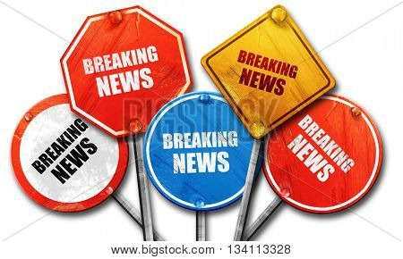 breaking news, 3D rendering, rough street sign collection