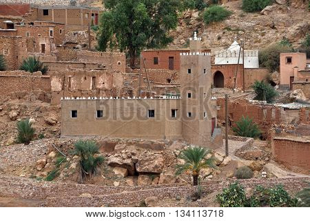 MOROCCO - AUGUST 07: mosque in Atlas mountains in Morocco August 07 2015. Morocco is one of the most popular tourist place in North Africa.