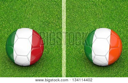 Team balls for Italy vs Ireland football tournament match, 3D rendering