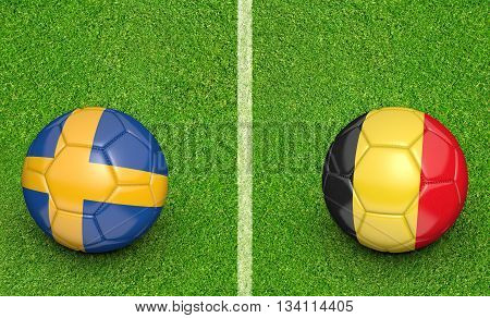 Team balls for Sweden vs Belgium football tournament match, 3D rendering