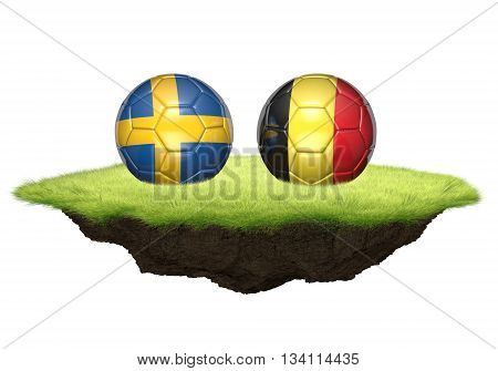 Sweden vs Belgium team balls for football championship tournament, 3D rendering