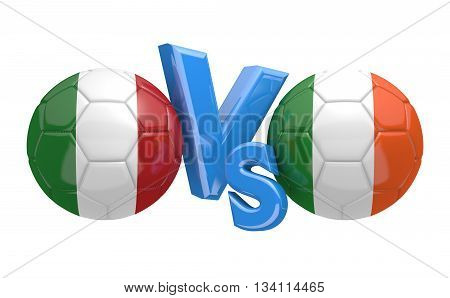 Football competition between national teams Italy vs Ireland, 3D rendering