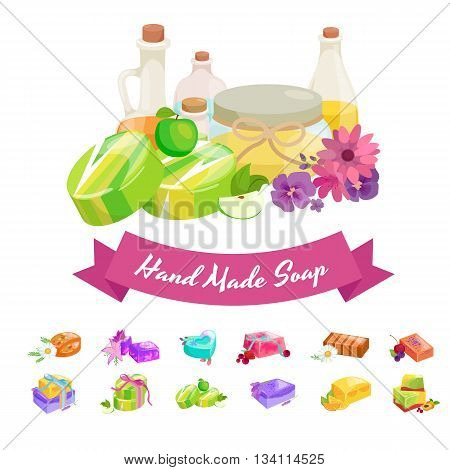 Homemade bars soaps, flowers and essential oil. vector illustrations icon set