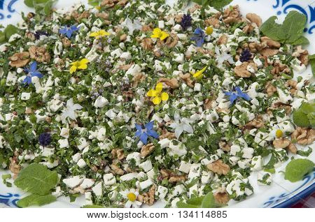 Salad With Goat Cheese And Flowers