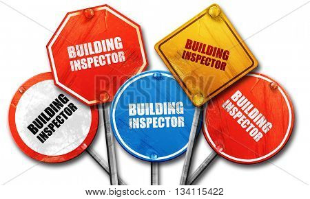 building inspector, 3D rendering, rough street sign collection