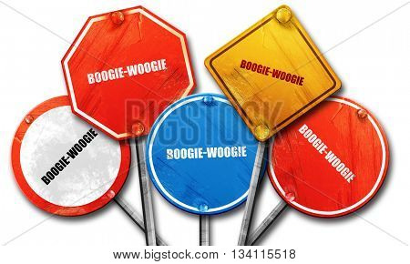 boogie woogie, 3D rendering, rough street sign collection