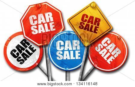 car sale, 3D rendering, rough street sign collection