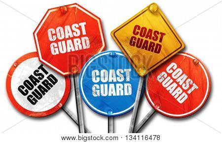coast guard, 3D rendering, rough street sign collection