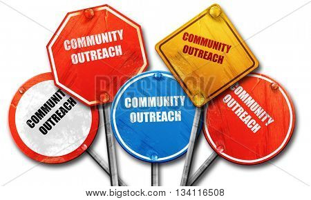 Community outreach sign, 3D rendering, rough street sign collect