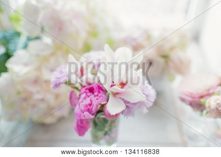 the sun vase with a delicate bouquet of white orchids
