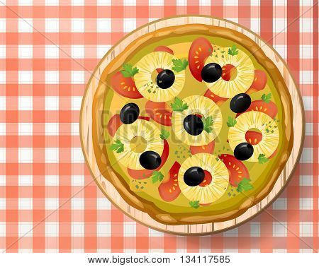 Pizza Hawaiian with tasty pineapple or ananas tomato sauce olive cheese mozzarella oregano fresh parsley on wooden cutting board on red-white tablecloth. Top view close-up vector illustration.