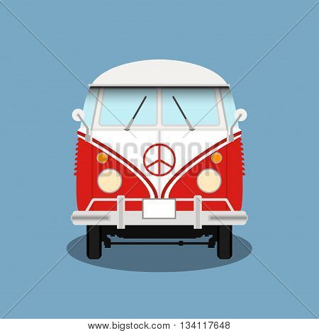 Vector classic retro bus. Old hipster bus. Red microbus with pacifist sign. Vintage vector van.