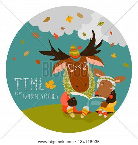 Cute elk with his cub reading book. Vector illustration