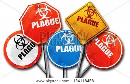 Plague concept background, 3D rendering, rough street sign colle