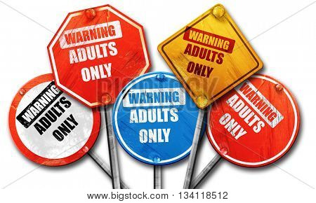 adults only sign, 3D rendering, rough street sign collection