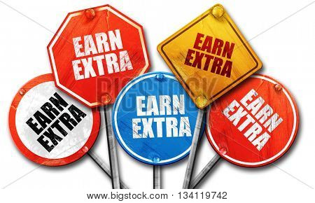 earn extra, 3D rendering, rough street sign collection