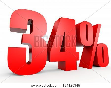 Discount 34 Percent Off. 3D Illustration.