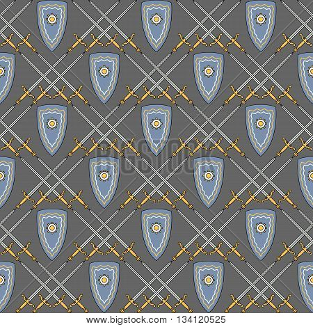 Seamless vector pattern with medieval shield and swords. Can be used for graphic design, textile design or web design.