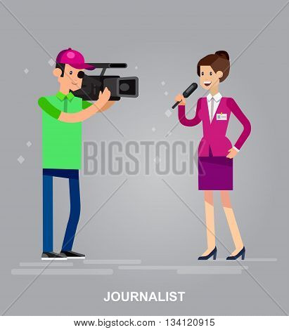 Mass media design concept set with journalists preparing news materials operators working with camera and interviewer vector illustration
