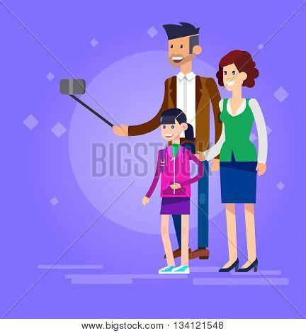 Vector detailed character make Selfie. Selfie shots family and couples Selfie. Selfie shot man, man make Selfie with his wife and children. Vector selfie people set, life with selfie photo camera