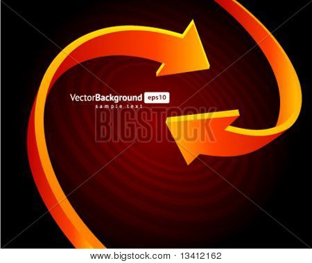 Two orange graph arrows swirl vector background