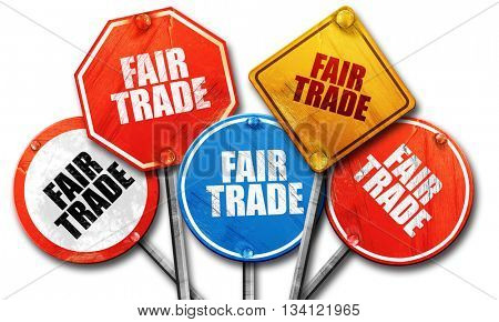 fair trade, 3D rendering, rough street sign collection
