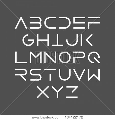 Thin line bold style uppercase modern font, typeface, minimalist style. Latin alphabet letters. Vector design element.