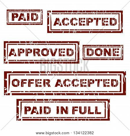 Rubber stamp with text paid in full inside vector illustration