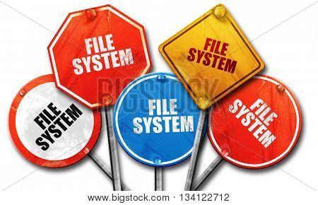 file system, 3D rendering, rough street sign collection