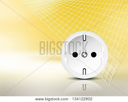 Yellow electric energy background with socket and abstract grid - power and electricity concept