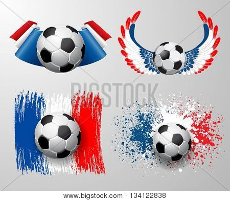 Set of designs to France football championship with ball and France flag colors. Vector.